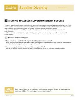 Metrics to Assess Supplier-Diversity Success